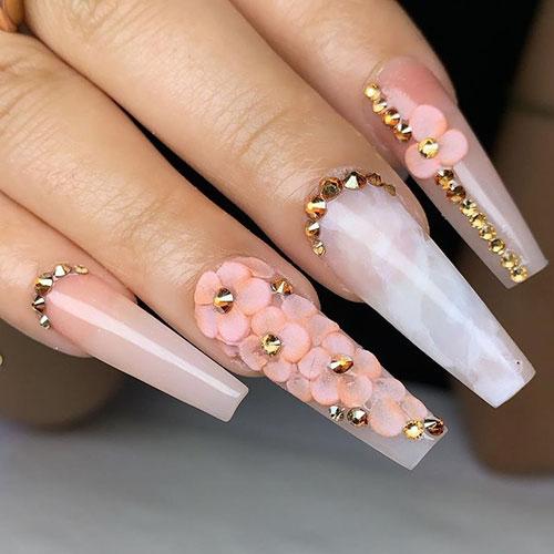3D Sunflower Nails